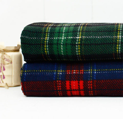 Cotton Double Gauze Tartan Check Plaid - Green or Red Blue - 59