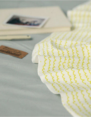 Wavy Lines Smooth Minky Fabric - Lime Yellow - 59