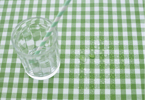 Laminated Cotton Fabric - Green Plaid - By the Yard 82948