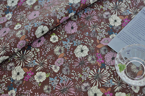 Laminated Cotton Fabric - Gardening Brown - By the Yard 83288