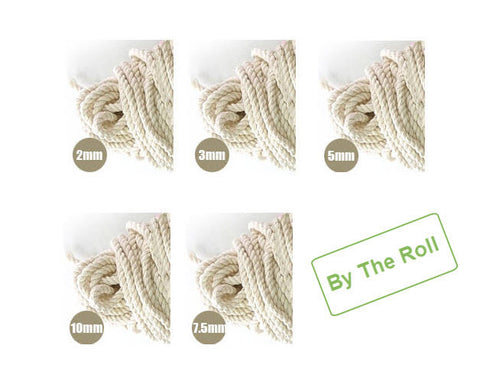A Roll of Cotton Piping Cord - 2 mm, 3 mm, 5 mm, 7.5 mm or 10 mm - By The Roll 5378