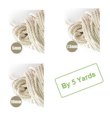 Cotton Piping Cord - 5 mm, 7.5 mm or 10 mm - By 5 Yards 5377