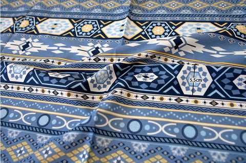 Geometric Oxford Cotton Fabric - Blue - By the Yard 85326