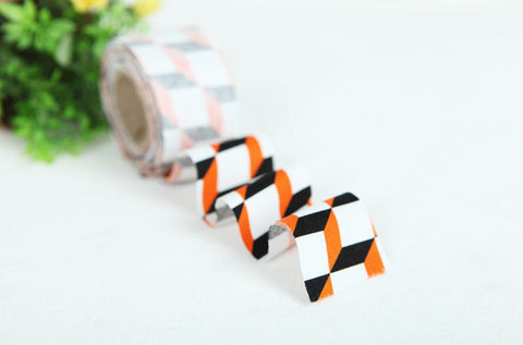 4 cm Cotton Bias by the roll - Orange Cube - 10 Yards 81751