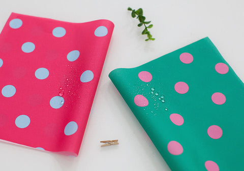 Polka Dots Waterproof Fabric - Hot Pink or Green - By the Yard 85322