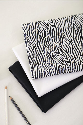 Zebra Fabric, Oxford Cotton Fabric,Off White Fabric, Black Fabric, Solid Fabric, Black and White Fabric - By the Yard 68011