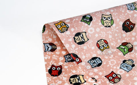 Owls Waterproof Fabric Pink, Blue or Mint 59