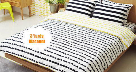 3 Yards Discount - Half Moon Cotton Fabric, Black and White Fabric, Geometric Fabric - Fabric By the Yard (FEATURED!)