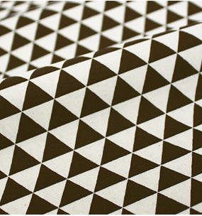 Dark Brown Mini Triangles Cotton Fabric, Geometric Fabric - 44