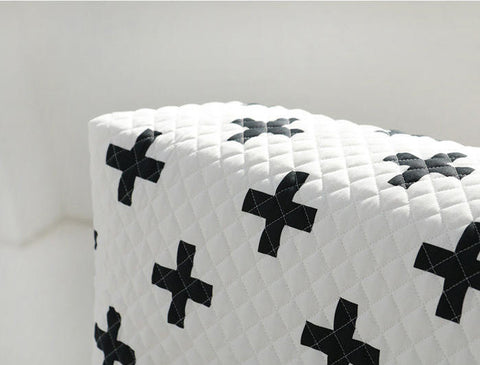Quilted Cross Cotton Fabric, Black and White Fabric, Addition Fabric, Plus Sign Fabric - Fabric By the Yard