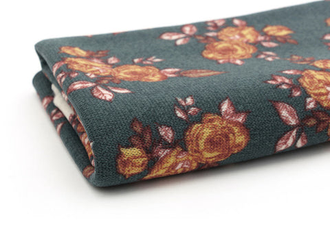 Yellow Roses Polyester Knit Fabric, Green Floral Knit Fabric 55 Inches Wide Fabric By the Yard 71150 GJ