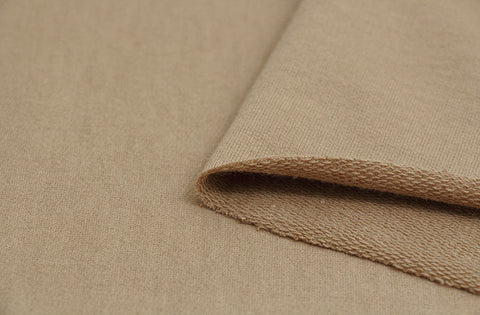 Brown French Terry Knit Fabric, Cotton French Terry Knit, Stretchy Fabric - Light Brown - 70 Inches Wide - By the Yard 69286 GJ
