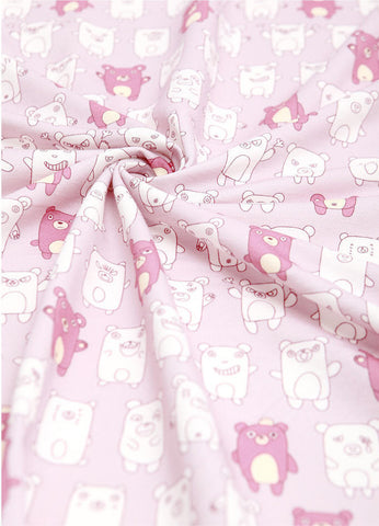 Bears and Pigs French Terry Knit Fabric, Cotton French Terry Knit, Stretchy Fabric - Indi Pink - By the Yard 68816 GJ