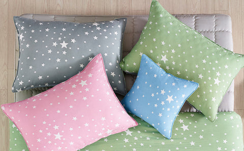 Stars Cotton Gauze, Cotton Double Gauze - Pink, Blue, Green or Gray - 57 Inches Wide - By the Yard 83615