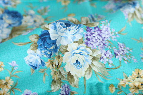Antique Flower Oxford Cotton Fabric - Mint - By the Yard 86335