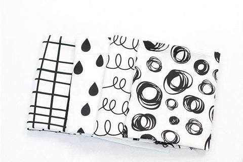 Geometric Cotton Fabric, Black and White Fabric, Circles, Coil Springs Fabric, Raindrop Fabric, Plaid - 62 Inches Wide - Fabric By the Yard