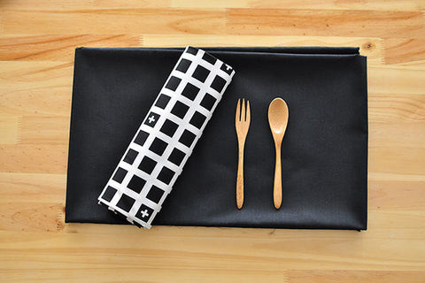 Black Squares Cotton Fabric, Solid Black Cotton Fabric, Geometric Cotton Fabric - Black and White Fabric - By the Yard 86421