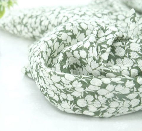 Tulip Cotton Gauze Fabric, Floral Gauze - Green - Fabric By the Yard 86439