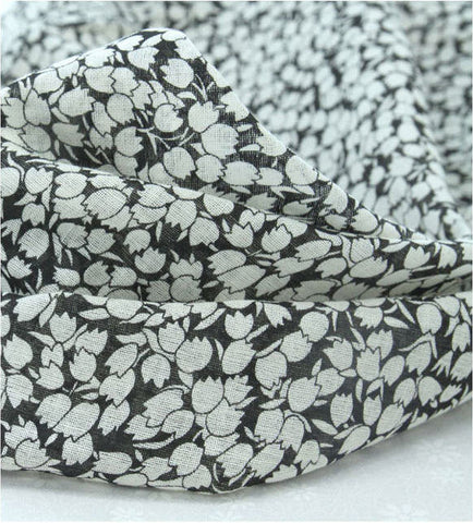 Tulip Cotton Gauze Fabric, Floral Gauze - Black - Fabric By the Yard 86437
