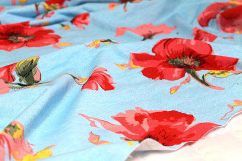 Big Flowers French Terry Knit, Blue Flower Knit, Stretchy Knit Fabric - By the Yard