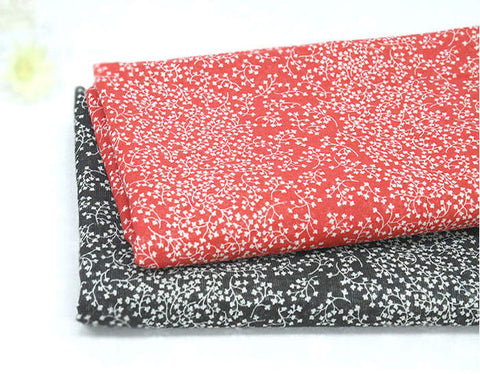 Cotton Gauze Fabric - Red or Black - Fabric By the Yard 86939