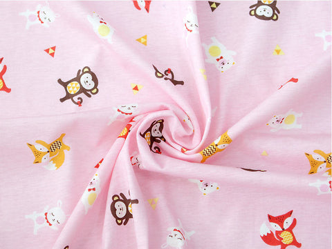 Animals Cotton Knit Fabric, Monkeys, Foxes, Bears, Rabbits - Pink - 59 Inches Wide - By the Yard 87435