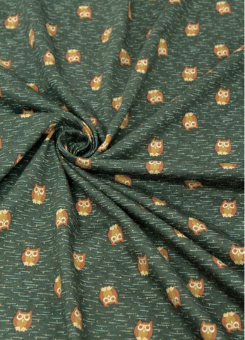 Owls Cotton Knit Fabric - Green - 59 Inches Wide - By the Yard 71712 GJ