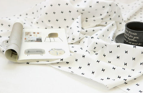 Lightning Bolt Cotton Fabric - Promotional Price - Black and White - By the Yard 94388