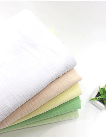 Wrinkled Cotton Gauze - White, Peach, Lemon, Apple Green or Melon  - 55