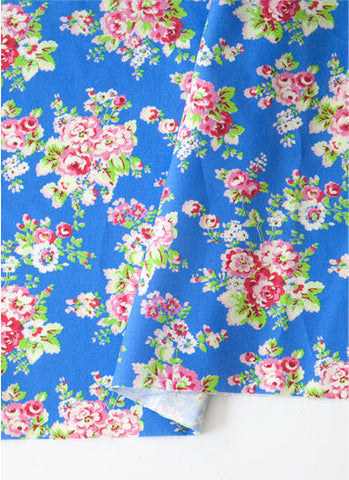 Blue Flowers Cotton Fabric, Floral Cotton Fabric - By the Yard 88615