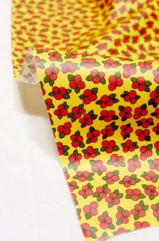 Laminated Cotton Fabric - Cute Blossoms on Yellow - By the Yard 88224