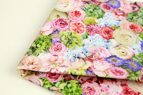 Laminated Cotton Fabric - Big Rose Garden in Green - By the Yard 86299