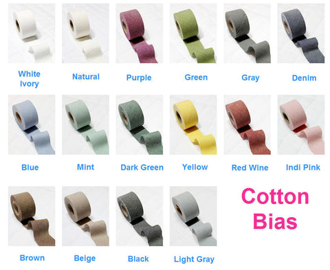 4 cm Cotton Bias, 12 Yard by the roll - 16 Colors - 86976