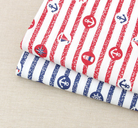 Cotton Knit, Stripes, Anchors, Light Houses, Sailboats - Red or Blue - 64 Inches Wide - By the Yard 73184 GJ