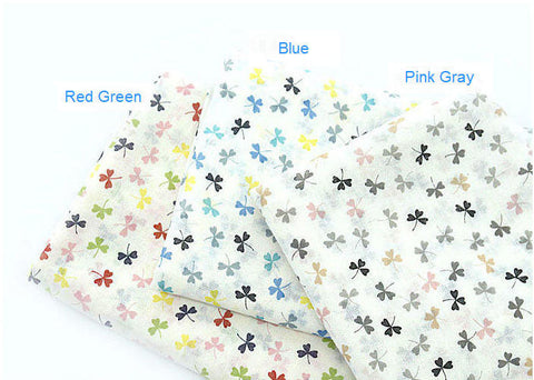 Clovers Cotton Gauze Fabric - Red Green, Blue or Pink Gray Tone - Fabric By the Yard 87711