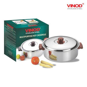 Vinod Stainless Steel Multipurpose Hot Casserole with lid, 2800 ml Capacity - Gogia bartan store