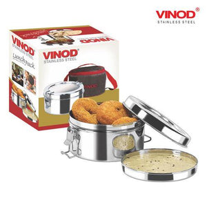 Vinod Stainless Steel Lunch Pack with Mega Hot Bag