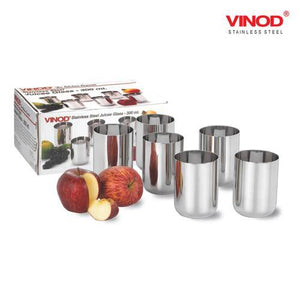 Vinod Stainless Steel Juicee Glass - Six Glasses in one Box