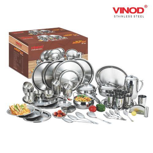 Vinod Stainless Steel  77 pieces Dinner Set for eight persons - Gogia bartan store