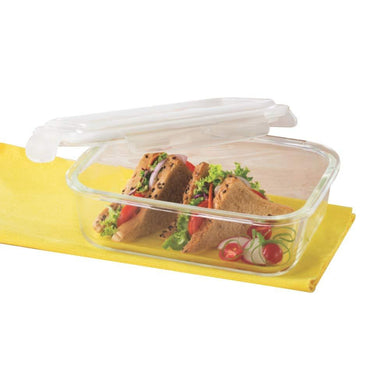 BOROSIL KLIP N STORE GLASS FOOD CONTAINER, 1 L RECTANGLE, FOR KITCHEN STORAGE WITH AIR TIGHT LID - MICROWAVE SAFE - Gogia bartan store