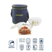 Load image into Gallery viewer, Borosil Glass Lunch Box Set of 2, 400 ml, Vertical, Microwave Safe Office Tiffin - Gogia bartan store