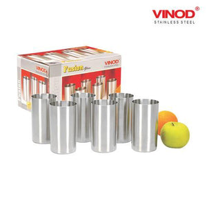 Vinod Stainless Steel Fusion Glass - Six Glasses in one Box - 400 ml