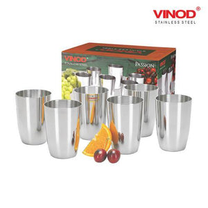 Vinod Stainless Steel Passion Glass - Six Glasses in one Box (300 ml)