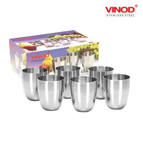 Vinod Stainless Steel Vento Glass - Six Glasses in one Box (300 ml) - Gogia bartan store