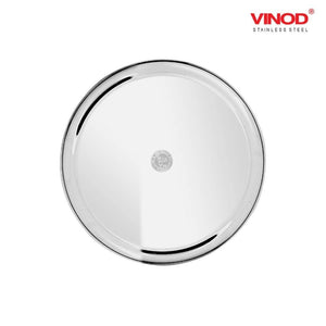 Vinod Stainless Steel Two Tone German Bogi Plate, Lunch & Dinner Plate, Set of 6 pieces - Gogia bartan store