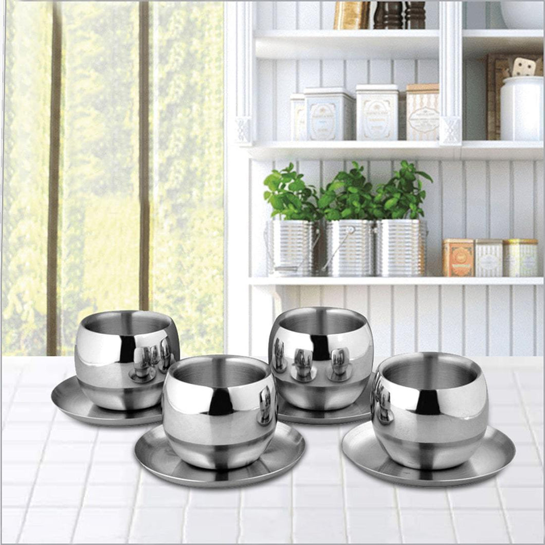 SHRI & SAM 4 PCS DOUBLE WALL CUP AND SAUCER SE, SET OF 4 - Gogia bartan store