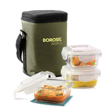 Load image into Gallery viewer, Borosil Basics Glass Lunch Box Set of 3, 320 ml, Square, Microwave Safe Office Tiffin - Gogia bartan store