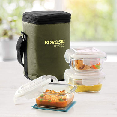 Borosil Basics Glass Lunch Box Set of 3, 320 ml, Square, Microwave Safe Office Tiffin - Gogia bartan store