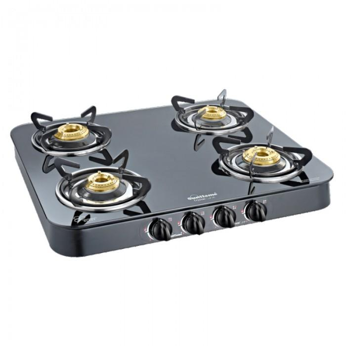SUNFLAME CRYSTAL CURVE BLACK 4 BURNER AUTO IGNITION - Gogia bartan store