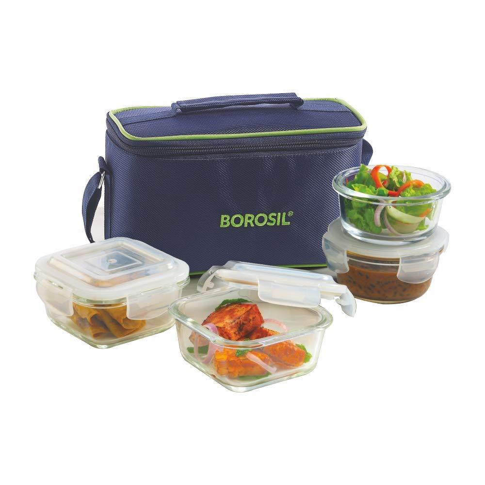 Borosil Glass Universal Lunch Box Set of 4, (2pcs 320 ml sq. + 2pcs 240 ml Round) Microwave Safe Office Tiffin - Gogia bartan store